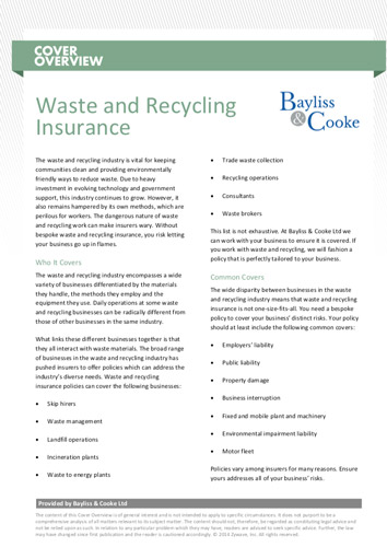Download our waste and recycling cover overview